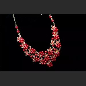 New Betsey Johnson holly berry necklace set